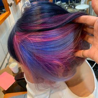 ガーリー ミニボブ ブリーチカラー インナーカラーパープル ヘアスタイルや髪型の写真・画像