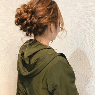 結婚式 アップ フェミニン ヘアセット ヘアスタイルや髪型の写真・画像