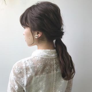 ナチュラル ショート ハーフアップ ミディアム ヘアスタイルや髪型の写真・画像