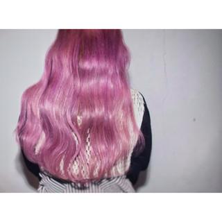 ピンク ロング 外国人風 ストリート ヘアスタイルや髪型の写真・画像