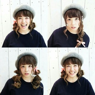 ガーリー ヘアアレンジ セミロング 三つ編み ヘアスタイルや髪型の写真・画像 ヘアスタイルや髪型の写真・画像