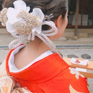 結婚式ヘアアレンジ ミディアム 和装ヘア 大人女子 ヘアスタイルや髪型の写真・画像
