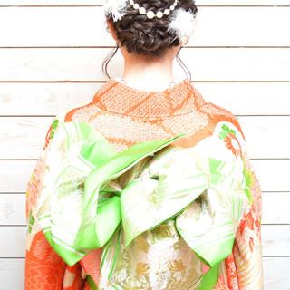 アップスタイル 編み込み ミディアム 着物 ヘアスタイルや髪型の写真・画像