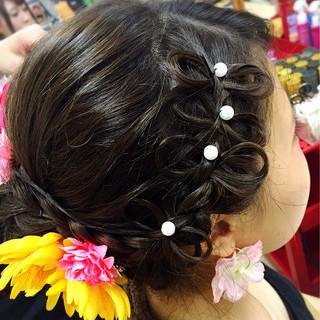 編み込み ヘアアレンジ お祭り 花火大会 ヘアスタイルや髪型の写真・画像