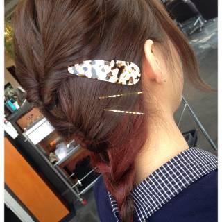 セミロング ストリート インナーカラー セルフヘアアレンジ ヘアスタイルや髪型の写真・画像