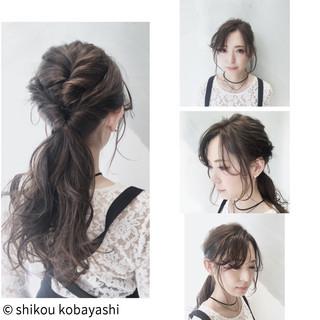 フェミニン ロング 簡単ヘアアレンジ フリンジバング ヘアスタイルや髪型の写真・画像