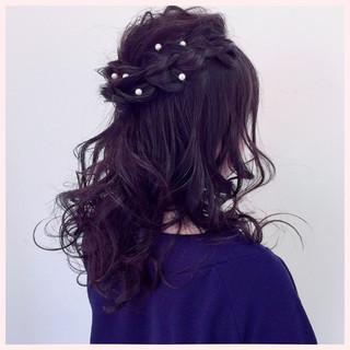ゆるふわ ロング 簡単ヘアアレンジ 結婚式 ヘアスタイルや髪型の写真・画像