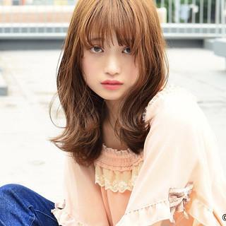 サロンモデル ガーリー ミディアム ヘアカラー ヘアスタイルや髪型の写真・画像