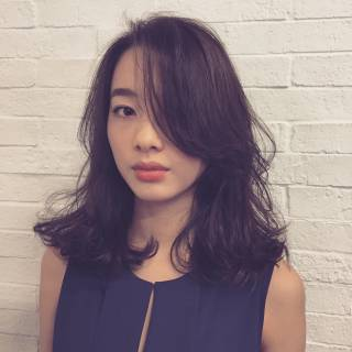 モード セミロング 大人女子 春 ヘアスタイルや髪型の写真・画像