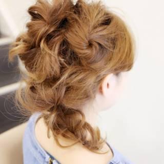 編み込み アップスタイル 簡単ヘアアレンジ ヘアアレンジ ヘアスタイルや髪型の写真・画像