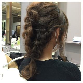 ヘアアレンジ ミディアム 三つ編み ヘアスタイルや髪型の写真・画像