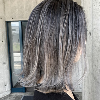 透明感カラー ハイライト ブリーチ必須 ボブ ヘアスタイルや髪型の写真・画像