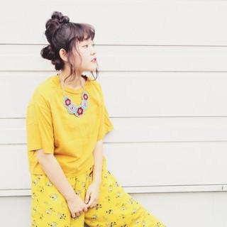 夏 お団子 ヘアアレンジ 簡単ヘアアレンジ ヘアスタイルや髪型の写真・画像