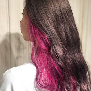 インナーカラー ストリート ブリーチカラー ピンク ヘアスタイルや髪型の写真・画像