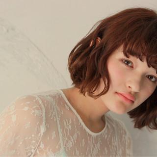 ガーリー 外国人風 ボブ ブラントカット ヘアスタイルや髪型の写真・画像