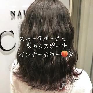 インナーカラー ナチュラル セミロング ラベンダー ヘアスタイルや髪型の写真・画像