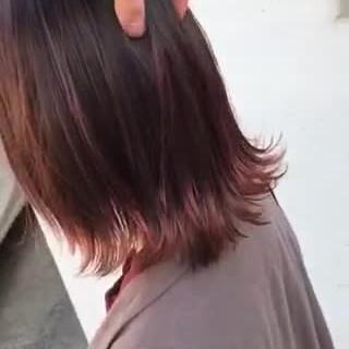インナーカラー アンニュイほつれヘア ショートヘア ミディアム ヘアスタイルや髪型の写真・画像
