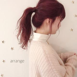 ヘアアレンジ ガーリー セミロング ポニーテールアレンジ ヘアスタイルや髪型の写真・画像