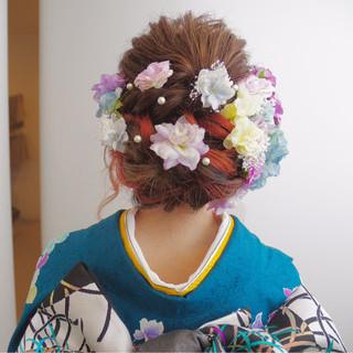 ガーリー アップスタイル セミロング 振袖 ヘアスタイルや髪型の写真・画像