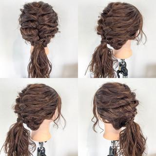 セミロング フェミニン ヘアアレンジ 編み込み ヘアスタイルや髪型の写真・画像