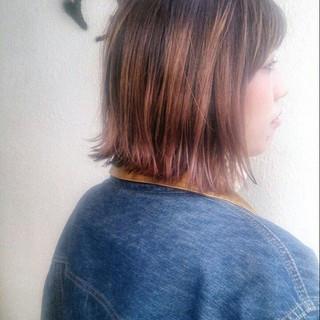 グラデーションカラー ボブ ストリート 大人かわいい ヘアスタイルや髪型の写真・画像