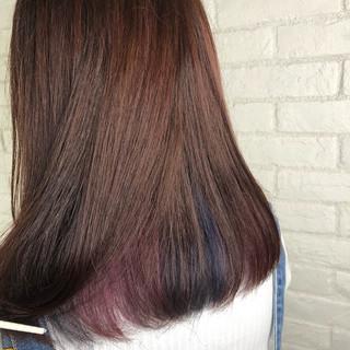 ガーリー インナーカラー セミロング ラベンダーピンク ヘアスタイルや髪型の写真・画像