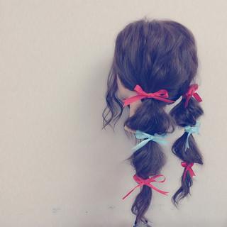 ロング ツインテール 結婚式 フェミニン ヘアスタイルや髪型の写真・画像