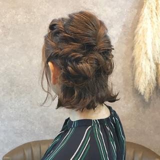 ミディアム 切りっぱなし ヘアアレンジ ボブ ヘアスタイルや髪型の写真・画像
