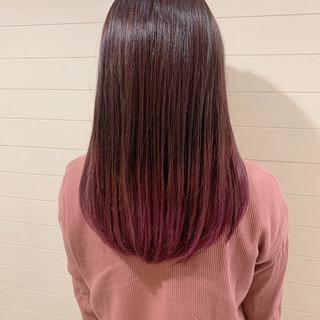 グラデーションカラー ピンクカラー ガーリー グラデーション ヘアスタイルや髪型の写真・画像