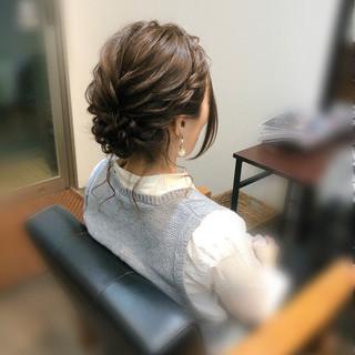 アップスタイル 結婚式 ミディアム ヘアセット ヘアスタイルや髪型の写真・画像