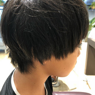 ナチュラル スタイルチェンジ 黒髪 キッズカット ヘアスタイルや髪型の写真・画像