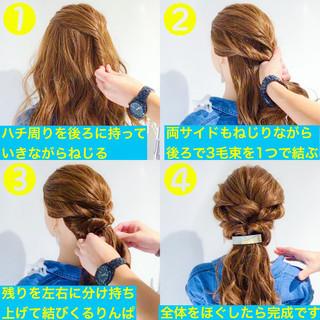 フェミニン オフィス デート 簡単ヘアアレンジ ヘアスタイルや髪型の写真・画像