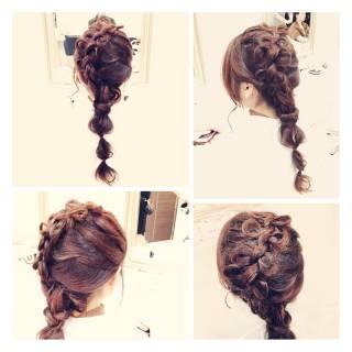 モテ髪 ヘアアレンジ 編み込み まとめ髪 ヘアスタイルや髪型の写真・画像