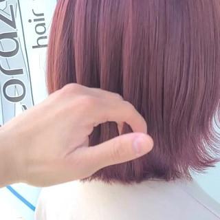 ピンクラベンダー ミディアム ブリーチ エレガント ヘアスタイルや髪型の写真・画像