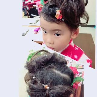 子供 ヘアアレンジ ミディアム 和装 ヘアスタイルや髪型の写真・画像