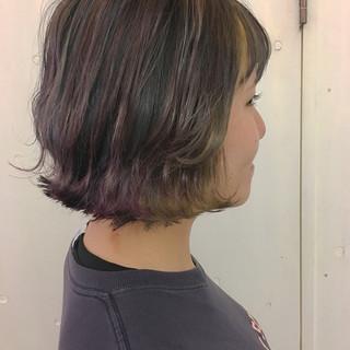 ボブ インナーカラー グラデーションカラー ブルー ヘアスタイルや髪型の写真・画像