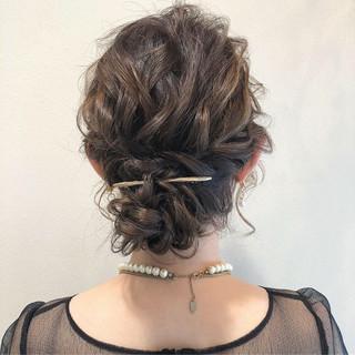 結婚式 原宿系 セミロング ヘアアレンジ ヘアスタイルや髪型の写真・画像