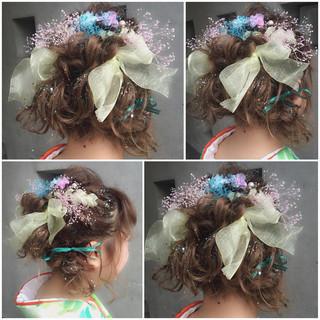 ヘアアレンジ ゆるふわ フェミニン ボブ ヘアスタイルや髪型の写真・画像