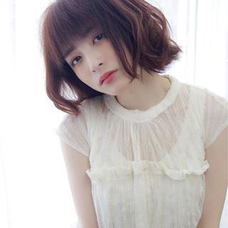 ロブ ミディアム 春 かわいい ヘアスタイルや髪型の写真・画像