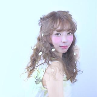 ショート ハーフアップ ゆるふわ 簡単ヘアアレンジ ヘアスタイルや髪型の写真・画像