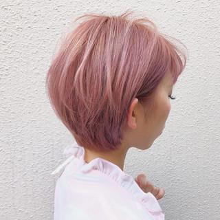ベージュ ピンク 外国人風カラー ショート ヘアスタイルや髪型の写真・画像