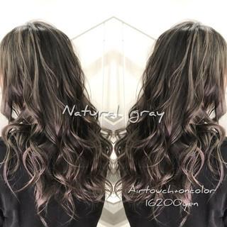 ラベンダーピンク ゆる巻き エレガント 外国人風カラー ヘアスタイルや髪型の写真・画像