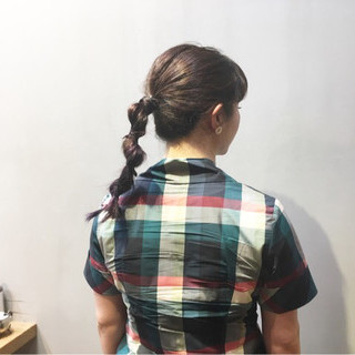 パープルアッシュ ミディアム ヘアアレンジ ストリート ヘアスタイルや髪型の写真・画像