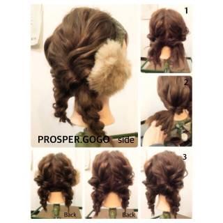 簡単ヘアアレンジ くるりんぱ ショート 三つ編み ヘアスタイルや髪型の写真・画像 ヘアスタイルや髪型の写真・画像