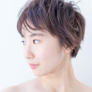 キュート ナチュラル 小顔 パープル ヘアスタイルや髪型の写真・画像