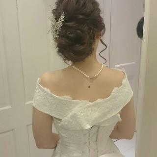 ブライダル ヘアアレンジ ロング ドレス ヘアスタイルや髪型の写真・画像