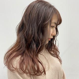 グラデーションカラー ピンクベージュ 春 モテ髪 ヘアスタイルや髪型の写真・画像