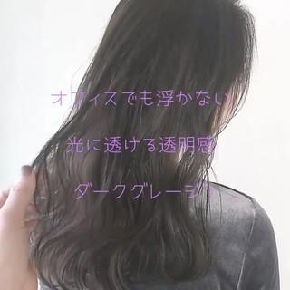 グレージュ ロング 透明感 愛され ヘアスタイルや髪型の写真・画像