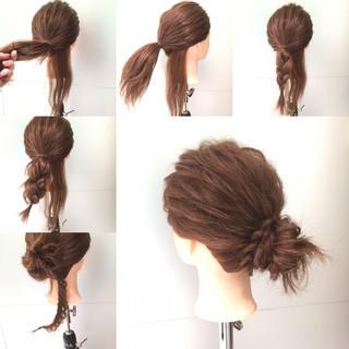 編み込み セミロング 簡単ヘアアレンジ ショート ヘアスタイルや髪型の写真・画像