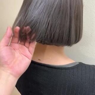 デート ストレート グレージュ 内巻き ヘアスタイルや髪型の写真・画像